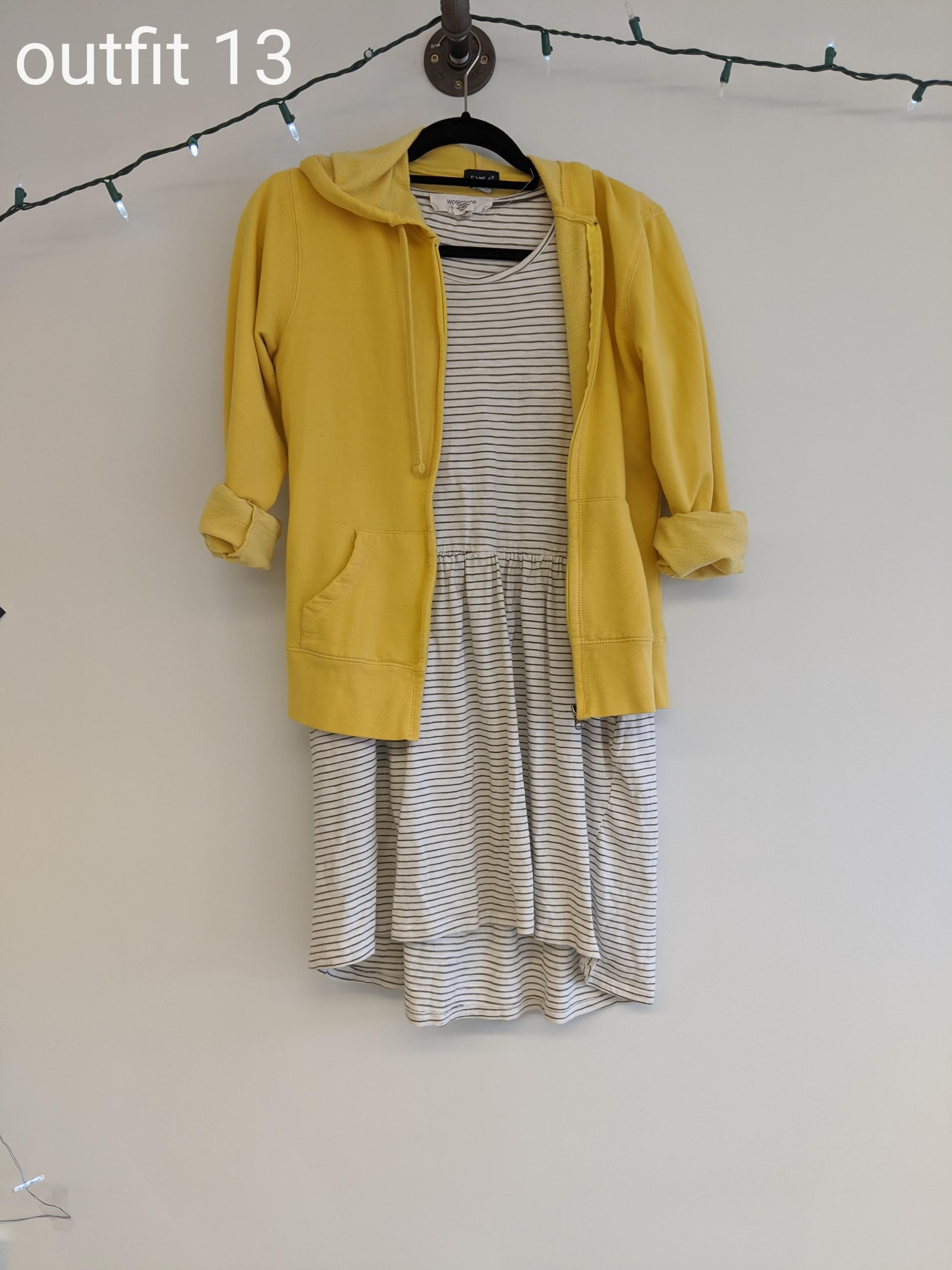 Yellow sweatshirt and stripe dress