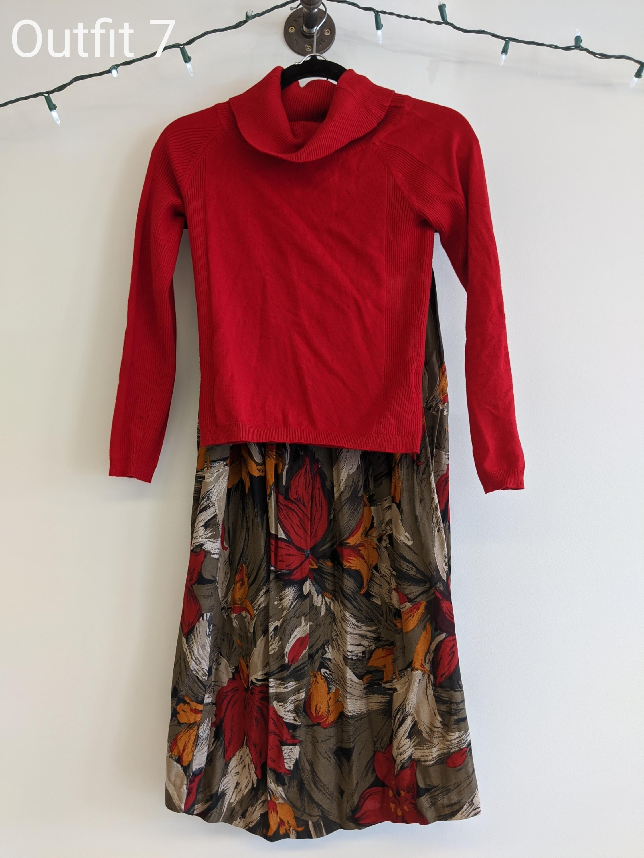 Red sweater and flower flowy skirt
